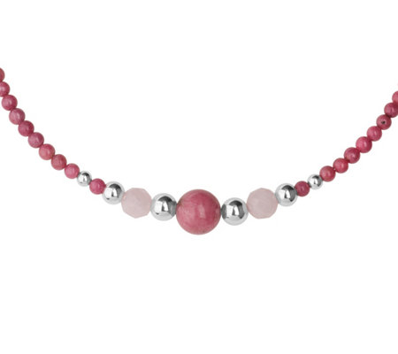 American West Sterling Shades of Pink Beaded Choker Necklace