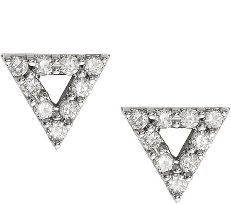 Dainty Designs 14K Diamond Accent Open TriangleEarrings