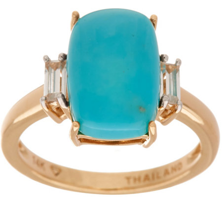 Elongated Cushion Cut Sleeping Beauty Turquoise Ring 14K Gold