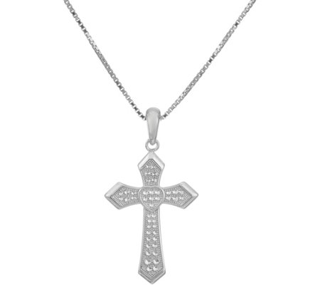 Sterling Silver Cross Pendant w/ Adjustable Chain by Silver Style