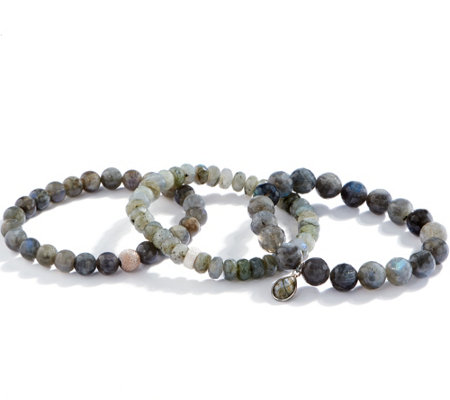 Dee Berkley Set of Three Labradorite Bracelets