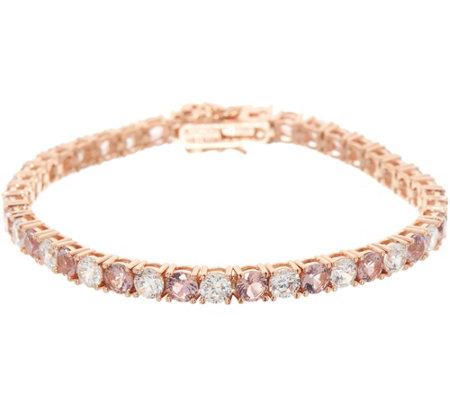 Diamonique And Simulated Morganite Tennis Bracelet 14k Rose Clad