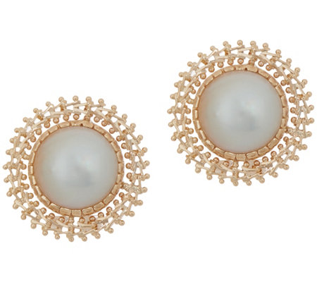 Imperial Gold Cultured Mabe Pearl Stud Earrings, 14K Gold