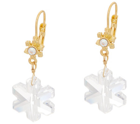 Kirks Folly Crystal Snowflake Leverback Earrings