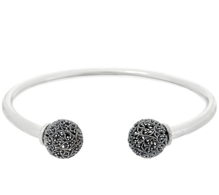 """As Is"" Or Paz Sterling Silver Lace Bead Cuff 10.5g"