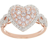 Affinity Diamond Natural Pink Heart Ring, 1.00cttw, 14K - J356699