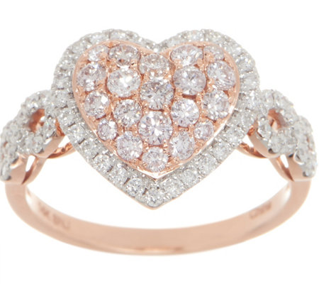 Affinity Diamond Natural Pink Heart Ring, 1.00cttw, 14K