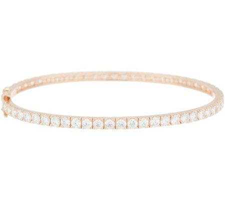 Diamonique 5 40 Cts Hinged Eternity Bangle Bracelet Sterling Silver