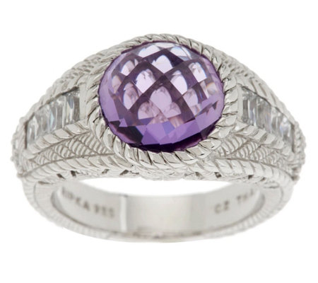 """As Is"" Judith Ripka Sterling 3.85ct Amethyst and Diamonique Band Ring"