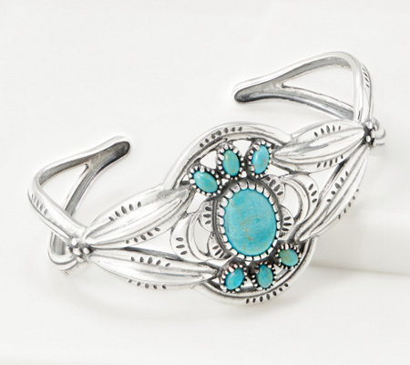 American West Sterling Silver Turquoise Sunrise Bold Cuff