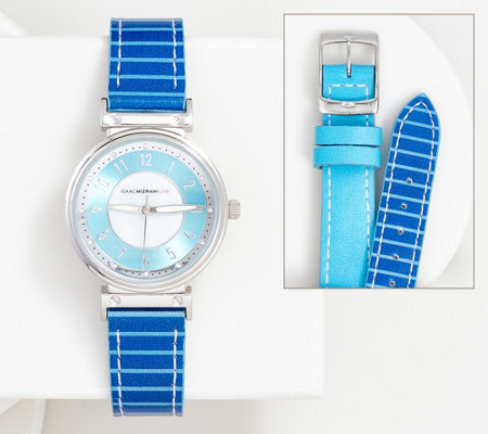 """As Is"" Isaac Mizrahi Live! Reversible Solid & Stripe Watch"