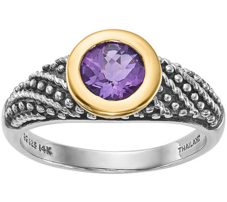 Sterling & 14K 0.60 ct Round Amethyst Ring