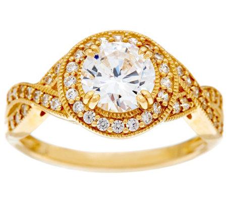 Diamonique Round Twisted Shank Ring 14k Gold