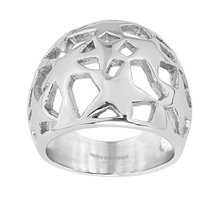 Steel By Design Dome Open Star Ring
