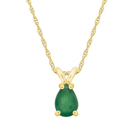 14k Pear Shaped Precious Gemstone Pendant W Chain