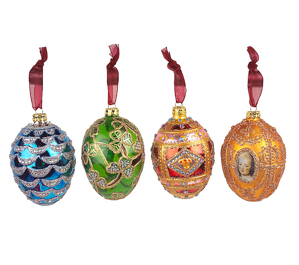 In Stock - Joan Rivers Set Of 4 FabergeInspired Christmas Ornaments €� QVC.com