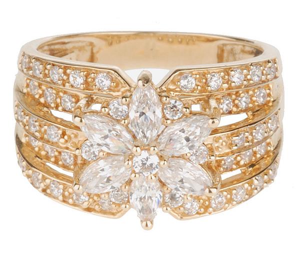 Diamonique 135 ct tw flower ring 14k gold page 1 qvc diamonique 135 ct tw flower ring 14k gold mightylinksfo