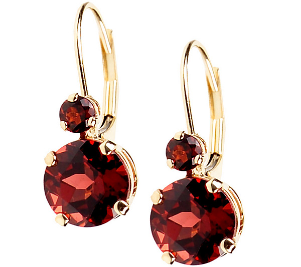 Garnet Round Gemstone Earrings 14k Gold Product Thumbnail In Stock