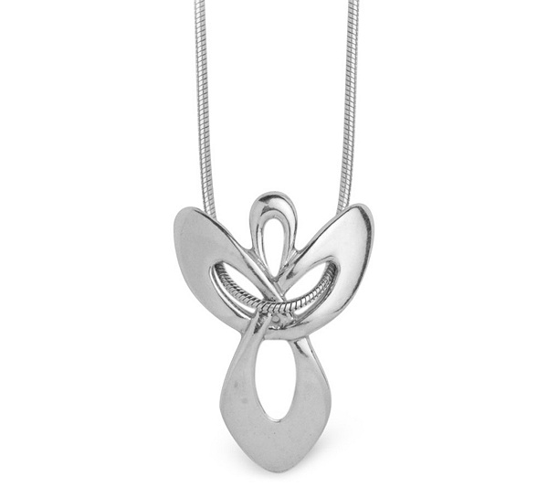 Sterling silver angel pendant with chain qvc aloadofball Images