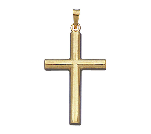 14k Yellow Gold Half Rounded Cross Pendant Qvc
