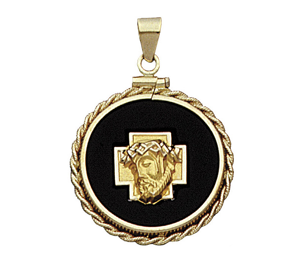 14k yellow gold christ head charm on black onyxdisc qvc aloadofball Choice Image