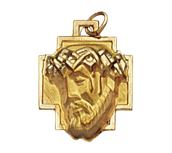 14k yellow gold christ head pendant page 1 qvc aloadofball Choice Image