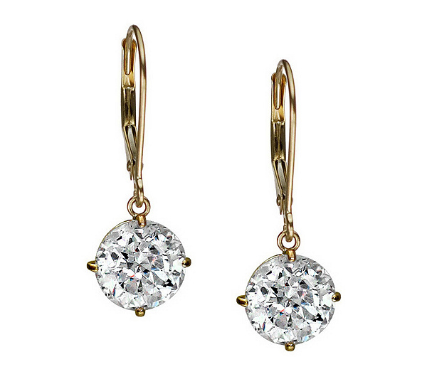 Diamonique 100 Facet 4 Ct Tw Lever Back Earrings 14k Gold