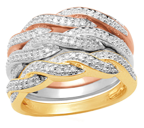Affinity Diamond Sterling 3 4 Cttw Tri Color Stack Ring Set Page 1