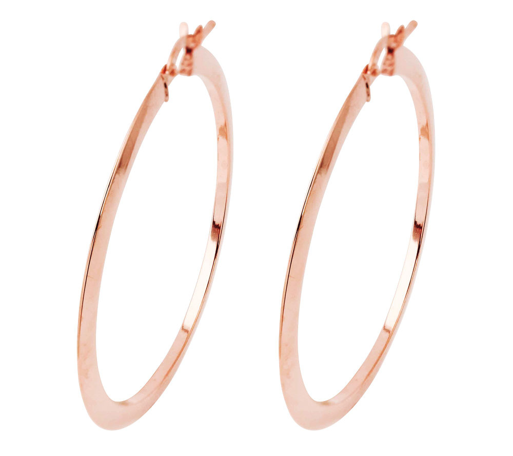 14K Rose Gold Round Hoop Earrings — QVC