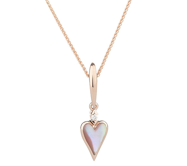 Kabana pink mother of pearl and diamond accent heart necklace 14k kabana pink mother of pearl and diamond accent heart necklace 14k page 1 qvc aloadofball Image collections