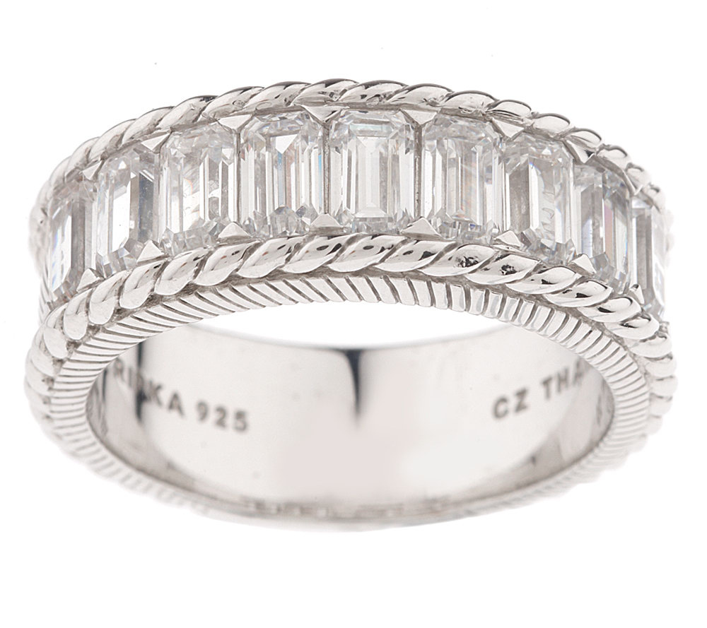 Judith Ripka Sterling Diamonique Emerald Cut Wedding Band Page 1