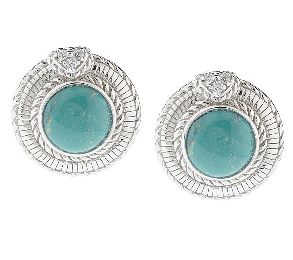 3acffcb5e Judith Ripka Sterling Round Green Turquoise Earrings - Page 1 — QVC.com