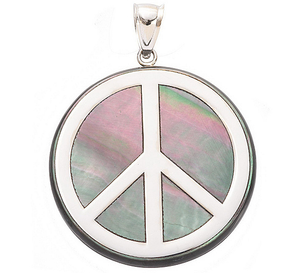 Mother of pearl peace sign pendant 14k gold page 1 qvc aloadofball Images