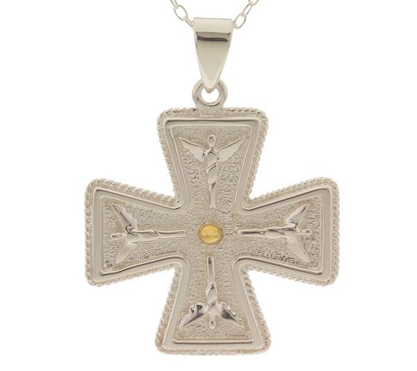 Sterling Angelic Maltese Cross Pendant W 18 Chain By Steven