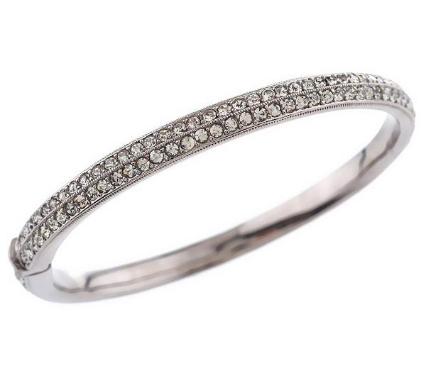 Nadri Pave Style Hinged Bangle Bracelet