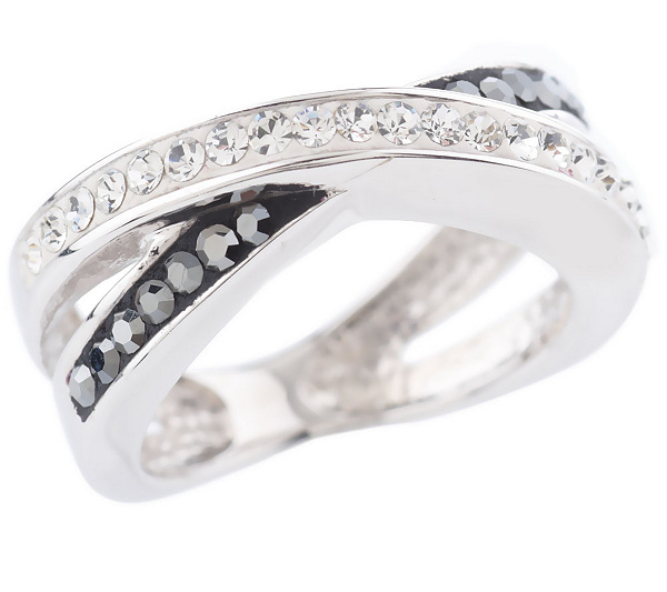 e01f7126b Chelsea Taylor Sterling Crystal Criss-Cross Ring - Page 1 — QVC.com