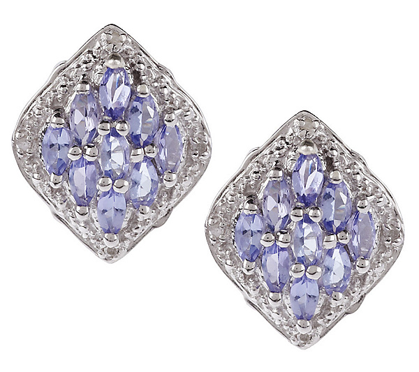Sterling 1 30 Ct Tw Tanzanite Marquise Shape Stud Earrings Page Qvc