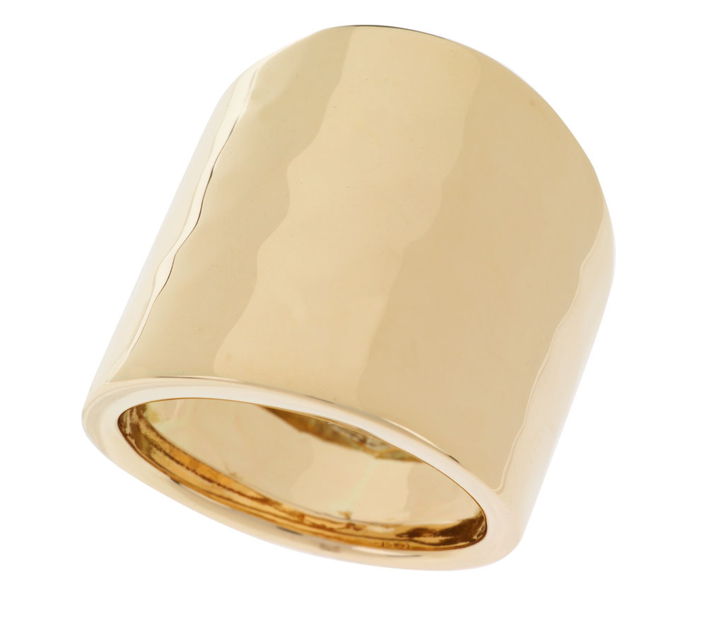 Polished and Hammered Wide Band Ring 14K Gold Band Ring 14K