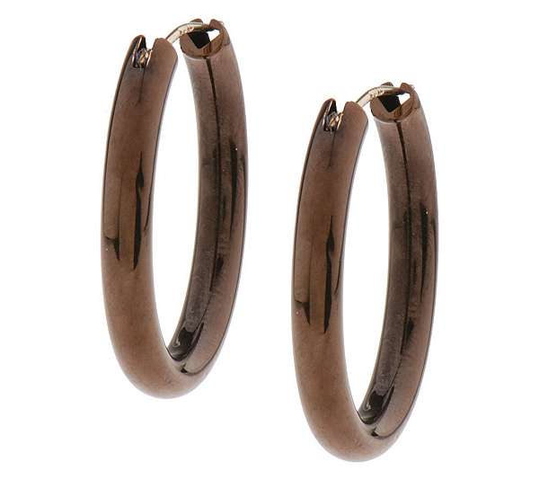 Chocolate Gold Comfort Closure Oval Hoop Earrings 14k Page 1 Qvc