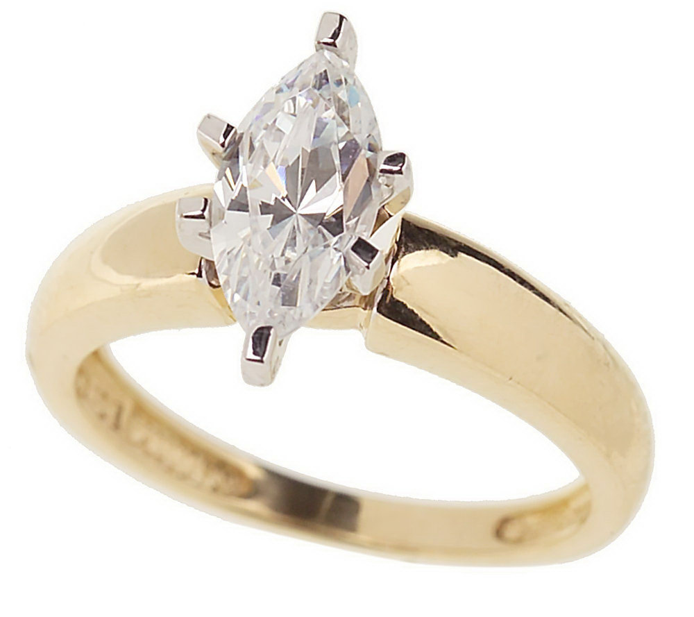 Diamonique 1 ct Marquise Solitaire Ring 14K Gold Page 1 — QVC