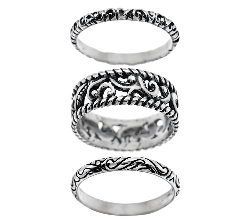 Carolyn Pollack Silver Rodeo Set Of 3 Sterling Rings Page 1 Qvc Com
