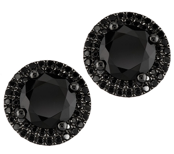 4 50 Ct Tw Black Spinel Pave Halo Solitaire Stud Earrings Page 1 Qvc