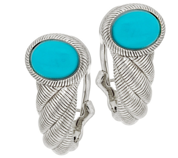 c36f0d03b Judith Ripka Sterling Sleeping Beauty Turquoise Hoop Earrings - Page 1 —  QVC.com