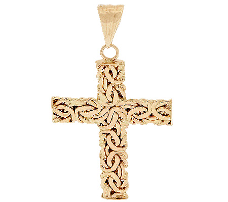 As is 14k gold byzantine cross pendant qvc as is 14k gold byzantine cross pendant qvc mozeypictures Image collections