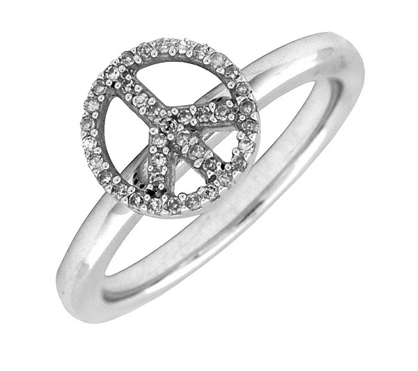 Simply Stacks Sterling Peace Symbol Diamond Ring Page 1 Qvc