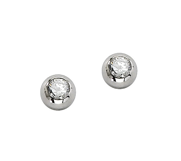 Stainless Steel Cubic Zirconia Stud Earrings Product Thumbnail In Stock