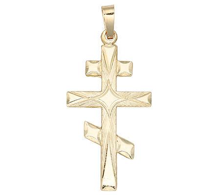 Diamond cut eastern orthodox cross pendant 14kyellow gold page 1 diamond cut eastern orthodox cross pendant 14kyellow gold page 1 qvc aloadofball Image collections