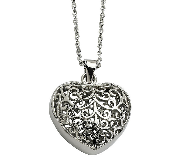Stainless steel filigree heart pendant with 21 12l chain page 1 stainless steel filigree heart pendant with 21 12l chain page 1 qvc aloadofball Gallery
