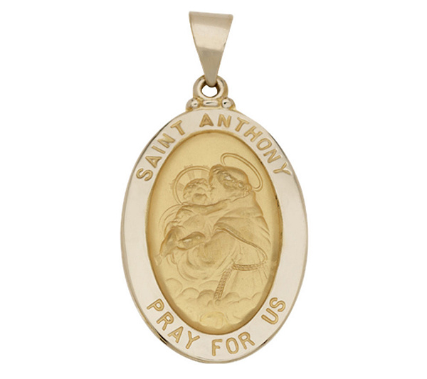 St anthony oval pendant 14k gold page 1 qvc aloadofball Images