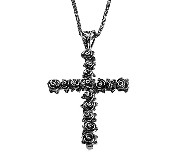 Or paz sterling silver gathered rose cross pend ant with chain or paz sterling silver gathered rose cross pend ant with chain page 1 qvc aloadofball Image collections